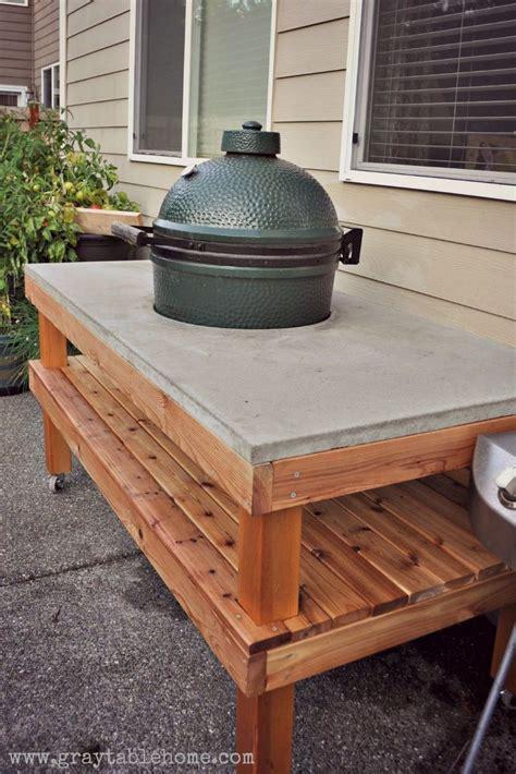 diy big green egg grill table  concrete top ana white