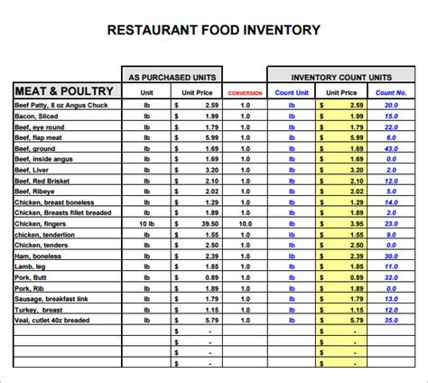 restaurant equipment list excel free excel inventory templates with regard to restaurant