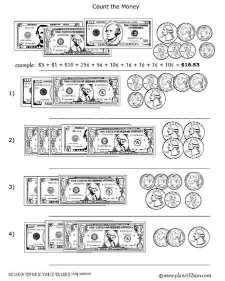 free printable black white worksheet adding coins and bills counting money worksheets