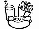 Coloring Soda Burger Drawing Template Dog Fries Pop Eat Shopkins sketch template