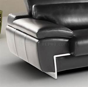 black full leather modern sectional sofa w adjustable headrest With leather sectional sofa with adjustable headrest