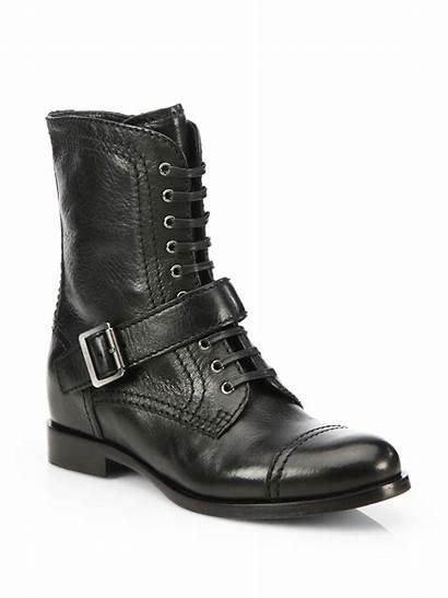 Prada Boots Leather Buckle Calf Mid Nero