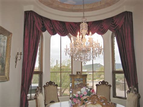 drapes and swags traditional dining room