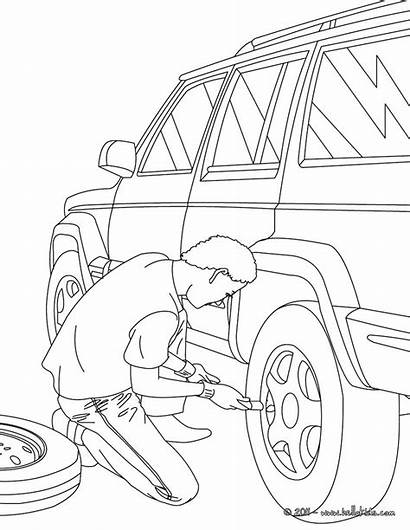 Mechanic Coloring Pages Hellokids Job Changing Wheel