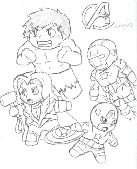chibi avengers drawing sketch coloring page