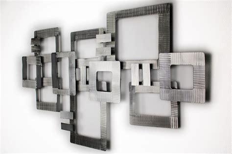 Wanddeko Metall 'abstrakt Silber Vierecke'