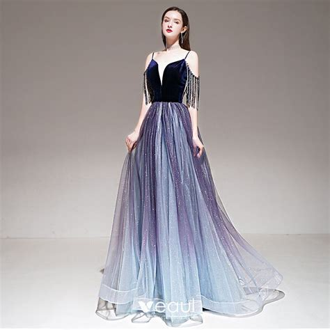 Elegant Purple Gradient-Color Evening Dresses 2020 A-Line ...