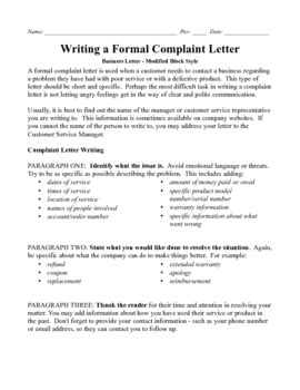 business letter modified block complaint   point