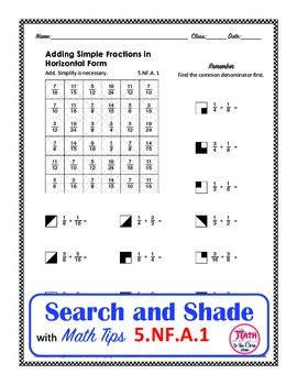 adding fractions search and shade by math to the core tpt
