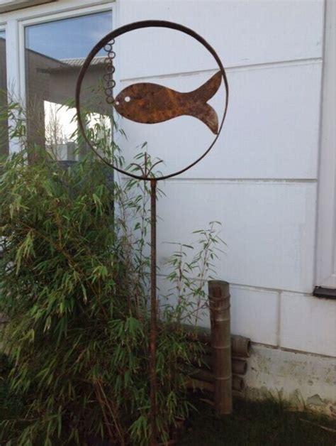 Gartendeko Holz Eisen by Edelrost Gartenstecker Beetstecker Fisch 120cm Gartendeko