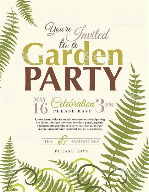 ferns garden party invitation template stock vector art
