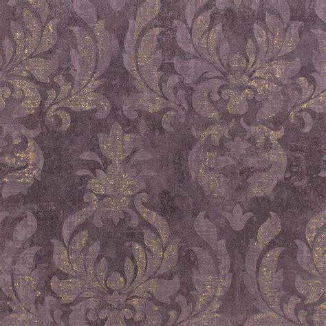 Tapeten Metallic Look by Vlies Tapete Barock Dunkellila Gold Metallic Rasch 467451