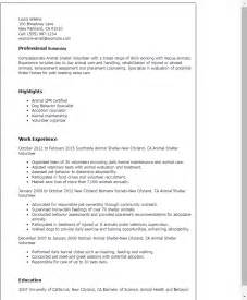 animal behavior specialist resume professional animal shelter volunteer templates to showcase your talent myperfectresume