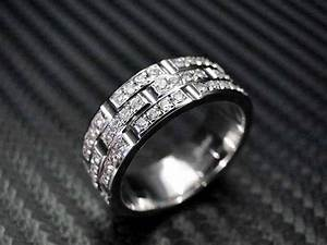 hand crafted 14k white gold mens diamond wedding band With custom made mens wedding rings