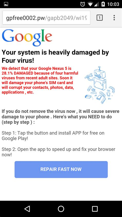 how do i if my android has a warning on imgur pages android phones only
