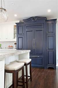 Landscaping Agreement Rich Navy Blue Cabinet In Bright Kitchen With Hardwood