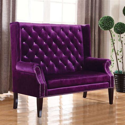 Purple Settee by Glam Purple Velvet Settee By Coaster Furniture Furniturepick