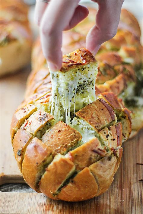 cheesy pesto pull  bread  cooking jar