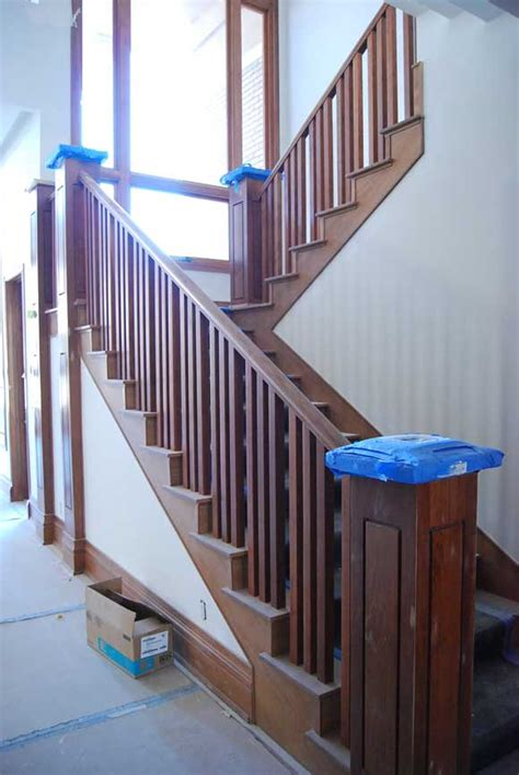 Wooden Stair Banister by Stair Railing Pictures Our Basement Remodel
