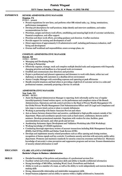 administrative manager resume sles velvet
