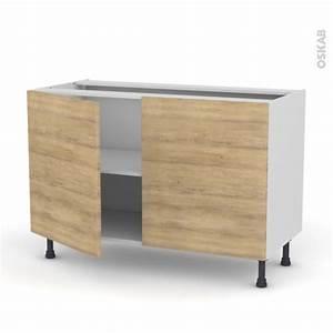 meuble de cuisine bas hosta chene naturel 2 portes l120 x With meuble cuisine bas 120 cm 14 cuisine siena