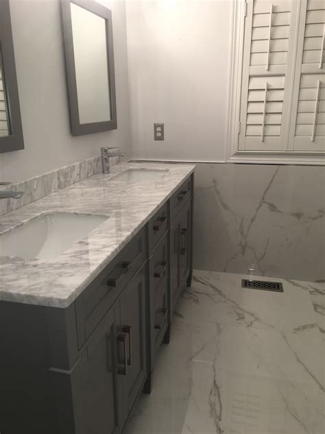 Bathroom Project: Bianco Carrara & XL Statuario   Marble