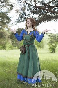 Ancient Viking Dress and Apron u0026quot;Ingrid the Hearthkeeperu0026quot;. Available in green flax linen blue ...