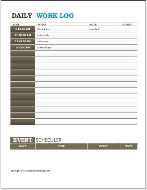excel work log template daily work log templates for ms word excel word