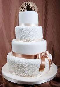 Wedding Cake With Brown Ribbon