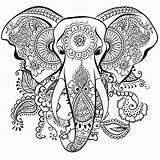 Coloring Adult Elephant Worksheets sketch template