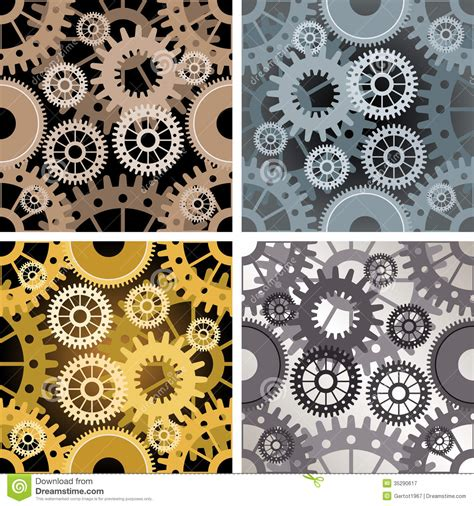 design patterns of four seamless gear pattern stock vector illustration of