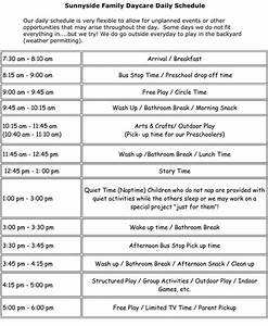 sample daycare schedule because well this would work With child care daily routine template