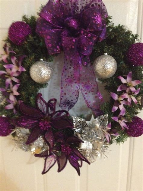 purplesilver christmas wreath xmas christmas