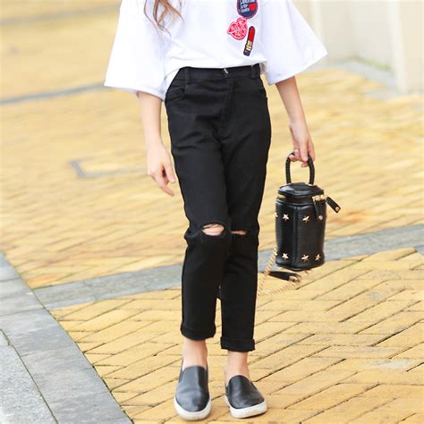Girl Black Jeans Frayed Denim Long Pants Girls Trousers