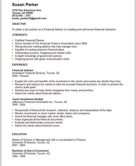 financial advisor resume exle free templates collection