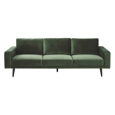 canapé en velours canapé 4 places en velours vert clark maisons du monde