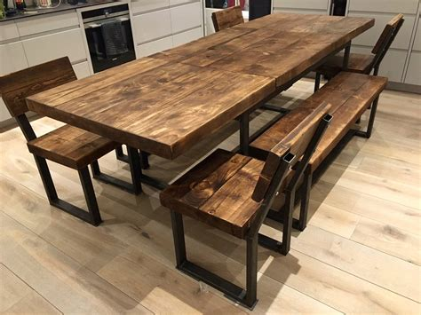 reclaimed industrial chic   seater extending dining table