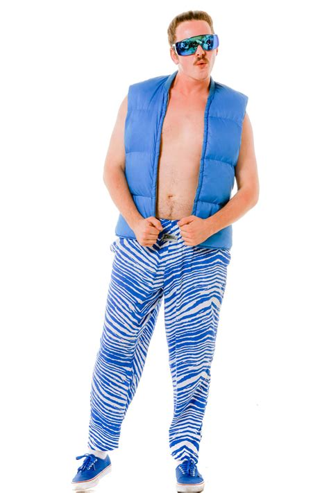 mens white  blue zubaz pants  blue zebra power pants