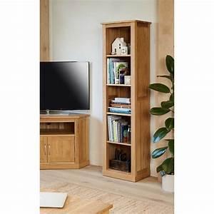 COR01D Baumhaus Mobel Light Oak Modern Tall Narrow Bookcase