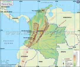 Colombia Physical Features Map