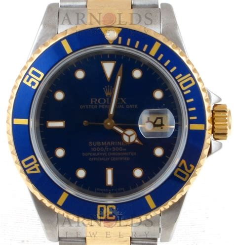 Pre-Owned 1993 Rolex Submariner Watch Two Tone With Blue ...