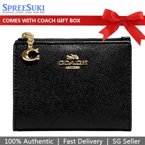 Coach snap card case in signature canvas with butterfly print 2978 coach style #2978 color im/khaki pink multi signature coated try prime cart women. SpreeSuki - Coach Snap Card Case Black # F73867