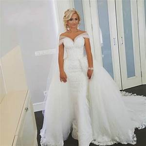 Two piece off shoulder lace detachable skirt wedding dress for Wedding dresses with removable skirts