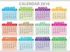 Calendar 2016 to Print Activity Shelter