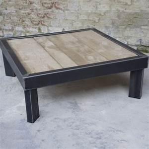 Table Basse Pied Bois : table basse bois metal sur pied table basse design ~ Teatrodelosmanantiales.com Idées de Décoration