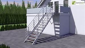 escalier exterieur en kit hollywood wpc rampe sur deux With sauna exterieur en kit