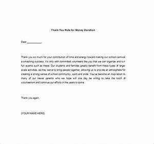 thank you note for money 8 free word excel pdf format With letter of thanks for donation of money