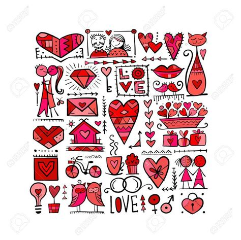 valentines day card design love icons collection wedding