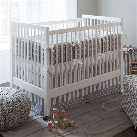 gray cribs on gray and white dots and stripes crib bedding neutral 3917