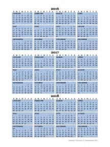 Printable 3 Year Calendar 2016 2017 2018